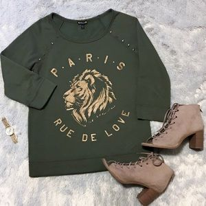Express studded long sleeve lion sweatshirt
